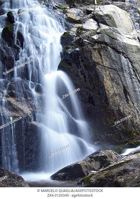 Gualba stream waterfalls at Sesgargantes site, detail. Montseny Natural Park. Barcelona province, Catalonia, Spain