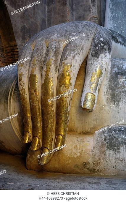 Buddha, Statue, Wat Si Chum, Sukhothai, Historical Park, Sukhothai, Thailand, Asia, hand