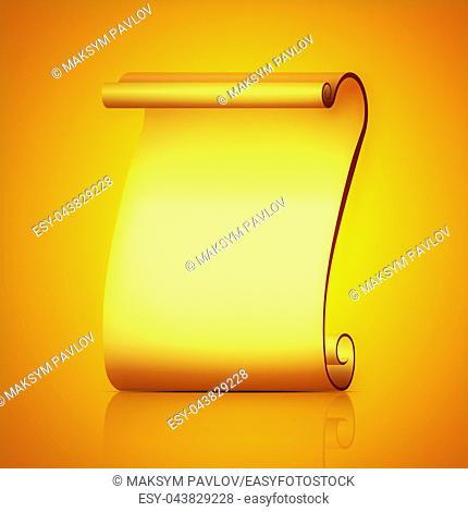 Abstract scroll paper vector illustration on yellow background