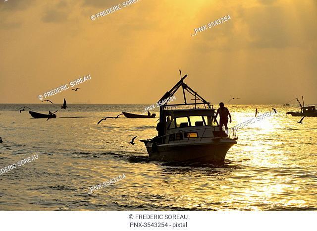 Morning local fishing boat in Livingston, Guatemala, Central America