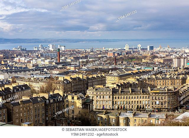 A view from Calton Hill over Edinburgh towards Firth of Forth, City of Edinburgh, Scotland, United Kingdom, Europe