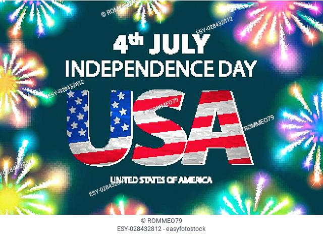 Independence day of the USA typographical background. Shining fireworks and place for text. vector art