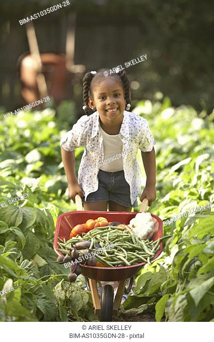 Girl with wheelbarrow full of vegetables