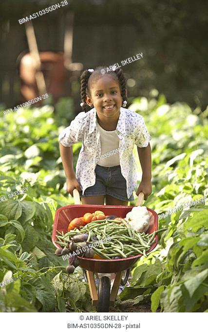 Girl with wheelbarrow full of vegetables