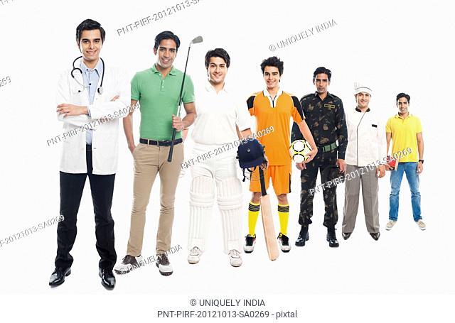 Portrait of men in different poses