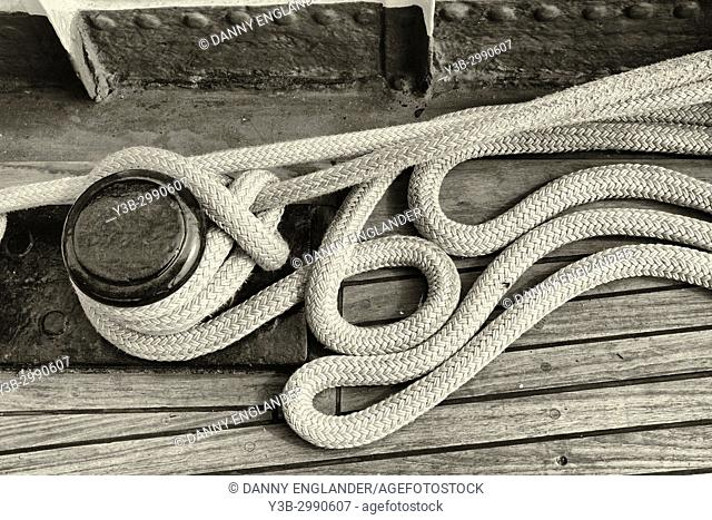 Close-up detailed view of maritime ropes in sepia