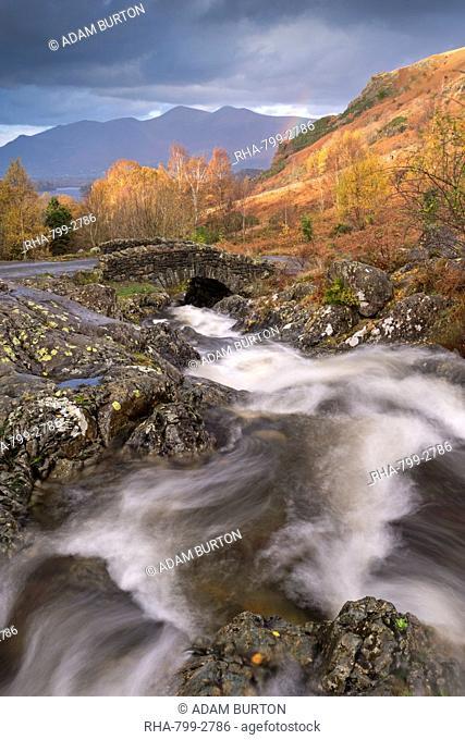 Tumbling mountain stream at Ashness Bridge in the Lake District National Park, Cumbria, England, United Kingdom, Europe