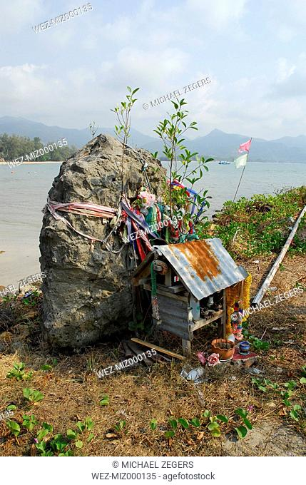 Thailand, Spirit house on Chai Chet pier at Mu Ko Chang National Park