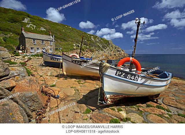 Fishing boats moored at Penberth Cove