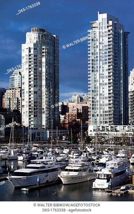 Canada, British Columbia, Vancouver, buildings along False Creek, morning