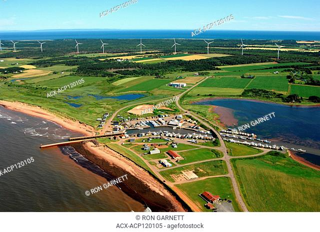 aerial, harbour, wind turbines, North Lake, PEI