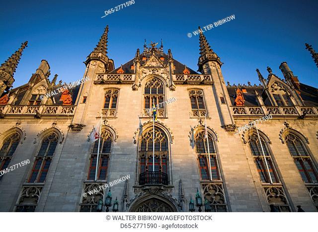 Belgium, Bruges, The Markt, Provinciaal Hof former government building, sunset