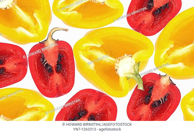 Still life product image of red and yellow chillie halves