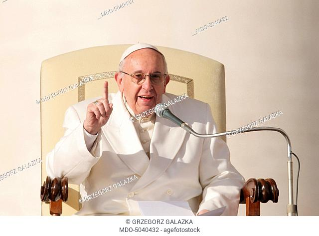 Pope Francis (Jorge Mario Bergoglio) during the Wednesday General Audience on Saint Peter's Square. Vatican City, 16th December 2015