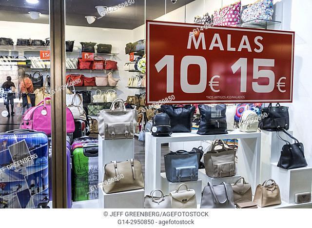 Portugal, Lisbon, Marquis of Pombal Square, Lisbon Metro, subway, station, storefront, shopping, handbags, price, Euro symbol, display, sale, sign