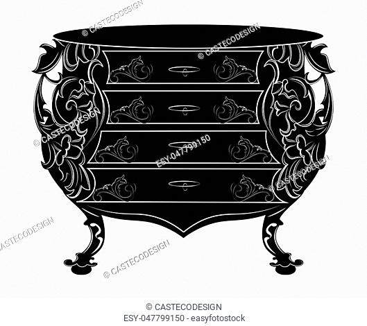 Imperial Baroque chest table. Vector French Luxury rich intricate ornamented structure. Victorian Royal Style decor