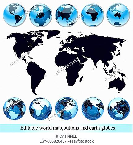 editable world map with buttons and earth globes