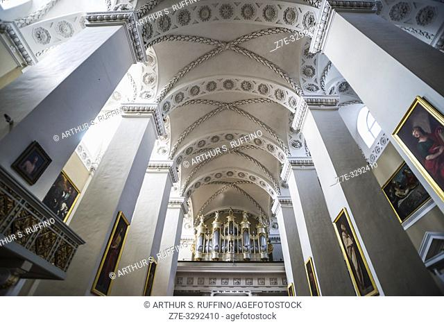 Interior, low-angle view of ceiling of Vilnius Cathedral, Old Town, Vilnius, Lithuania, Baltic States, Europe