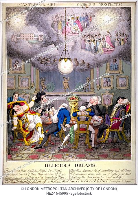 'Delicious Dreams! Castles in the air! Glorious prospects!', 1821. Queen Caroline and her supporters (Flinn, Hume, Lady Anne Hamilton, Alderman Wood