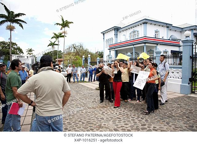 Demonstration in front of Catillo Azul, San Jose, Costa Rica