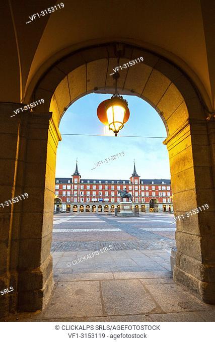 Plaza Mayor seen from the arcade, Madrid, Spain