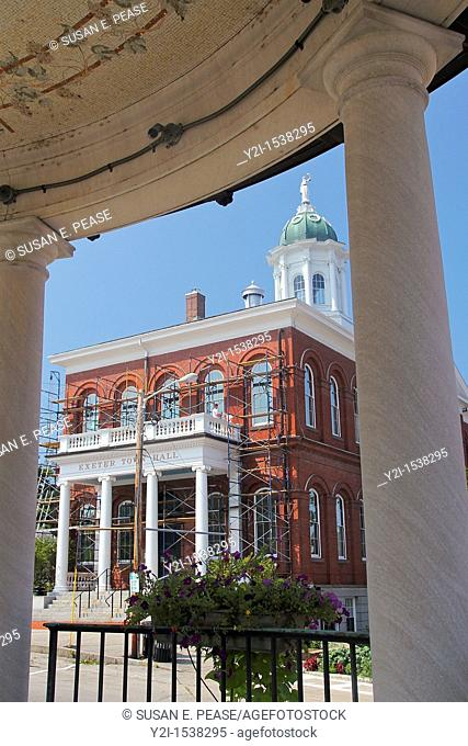 Town Hall, seen between columns of the bandstand, Exeter, New Hampshire, United States