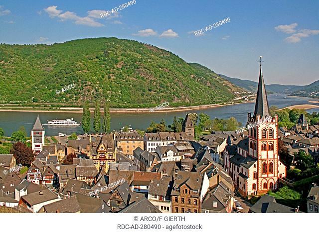 Church St. Peter, Rhine river, Bacharach, Rhineland-Palatinate, Germany