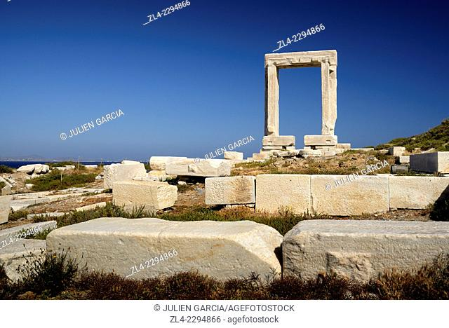 Doorway of the ruins of the Temple of Apollo, Chora (Hora). Greece, Greek islands in the Aegean sea, the Cyclades, Naxos island