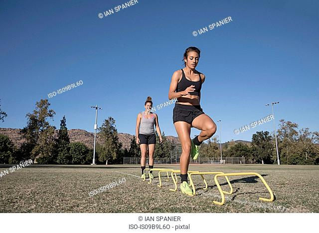 Woman jumping over agility hurdles