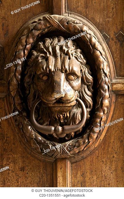 Lion door hammer Ancient typical Mansion House Old Aix Aix en Provence 13 France