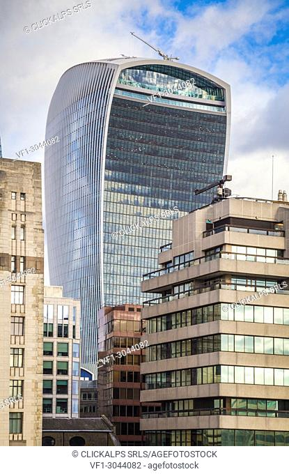 London financial district and the 20 Fenchurch Street Skyscraper. London, United Kingdom