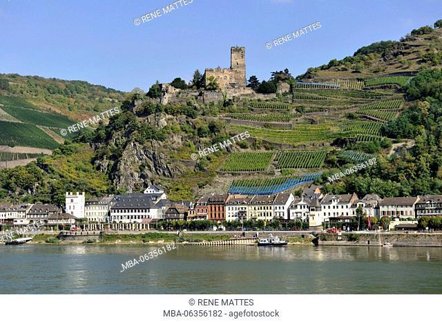 Germany, Rhineland-Palatinate, Kaub, (Burg) Gutenfels castle, the romantic Rhine listed as World Heritage by UNESCO