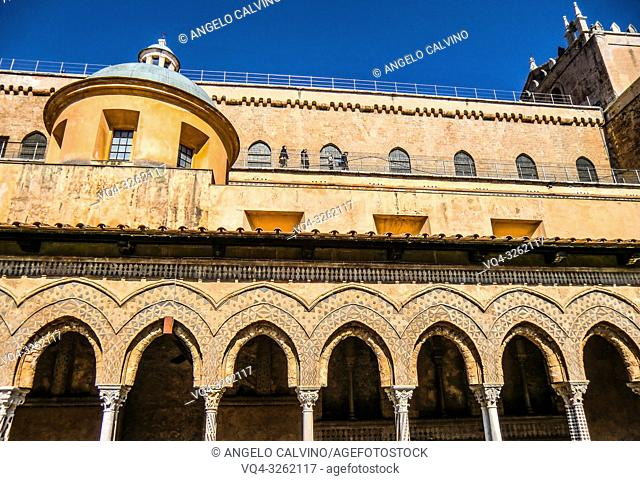 Palermo, Cathedral of Monreale, Colorful Cloister Columns, Sicily, Italy