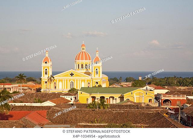 The Cathedral of Granada and Lake Nicaragua in the background, Granada Nicaragua