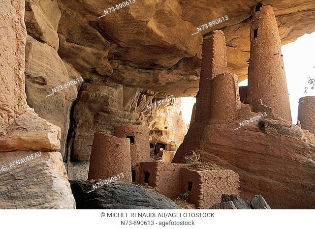 The dwelling of the Tellem people by the Bandiagara Escarpment, Dogon Country, Mali