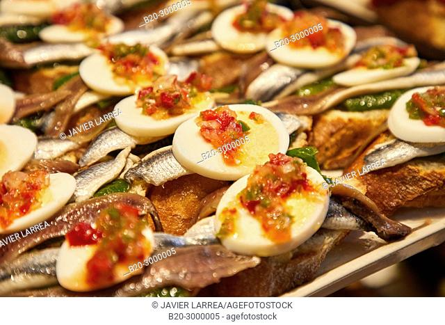 Anchovies and boiled egg, Pintxos, Bar Restaurante Portaletas, Parte Vieja, Old Town, Donostia, San Sebastian, Gipuzkoa, Basque Country, Spain