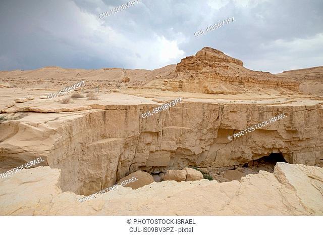 Deep dry river gorge cut in dry Marl sandstone by flood water, Dead Sea, Israel