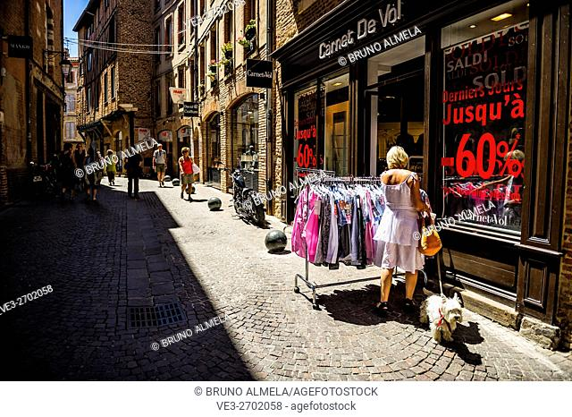 Shopping in rue Roquelaure, Albi (Tarn Department, Midi-Pyrénées Region, France)