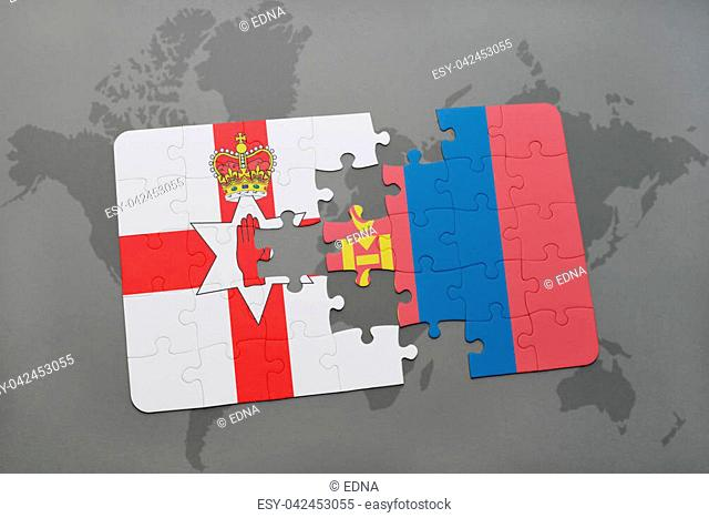 puzzle with the national flag of northern ireland and mongolia on a world map background. 3D illustration
