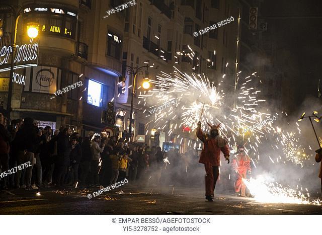 Correfoc. Fallas festival. València. Spain. 2019