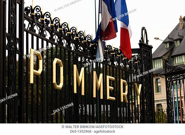 France, Marne, Champagne Ardenne, Reims, Pommery champagne winery, gates
