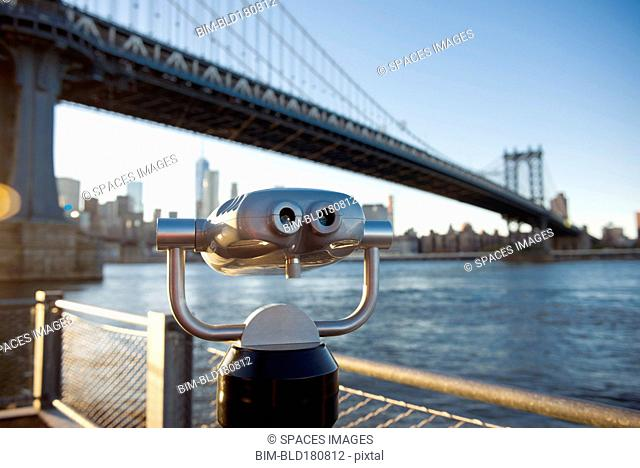 Binoculars at Brooklyn Bridge, New York City, New York, United States