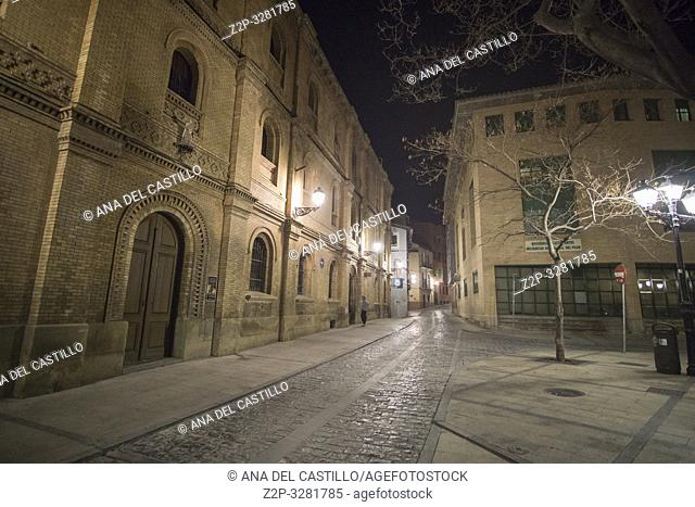 Old convent by night Huesca Aragon Spain