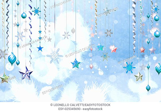 Christmass abstract background with several decorations hanging down in foreground. Light blue dominant color. Some place for text