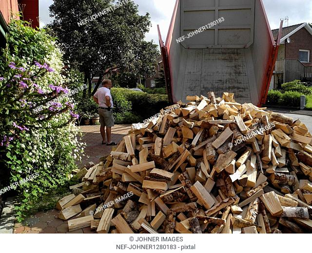 Unloading firewood in back yard