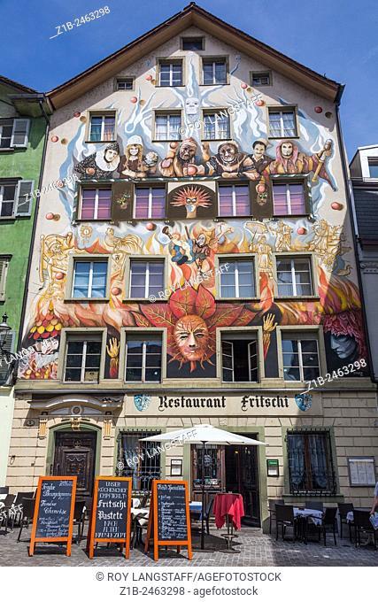 Exterior wall of Restaurant Fritschi in old town Lucerne, Switzerland