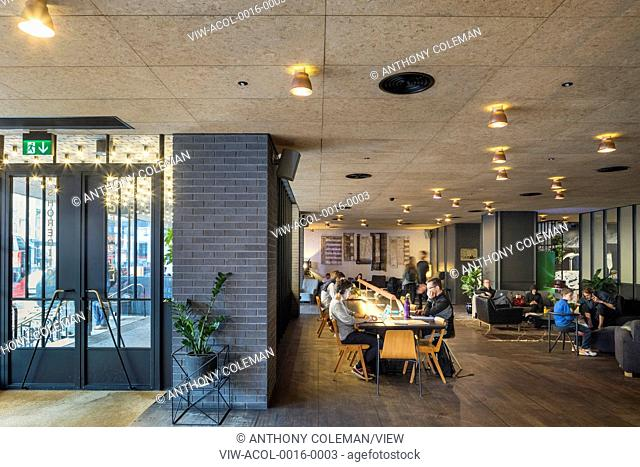 Lobby with communal sitting and meeting area. Ace Hotel Shoreditch, London, United Kingdom. Architect: EPR Architects Limited, 2016