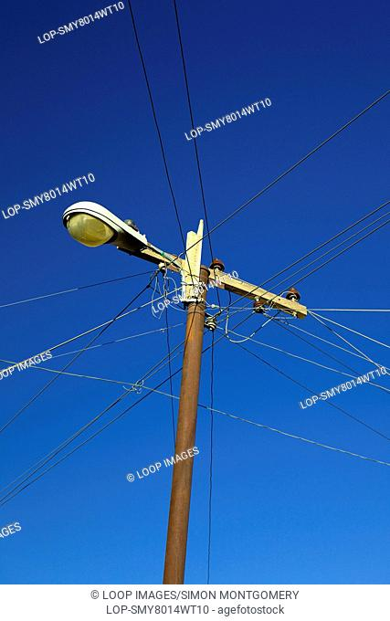 Electricity lines and blue sky