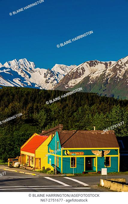 Street scene, Haines, Alaska USA. Haines is surrounded by mountains and water. Rising high above the town are the Takinsha Mountains and Chilkat Range to the...