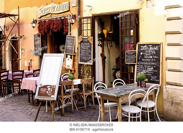 Typical Italian restaurant, Trastevere, Rome, Italy